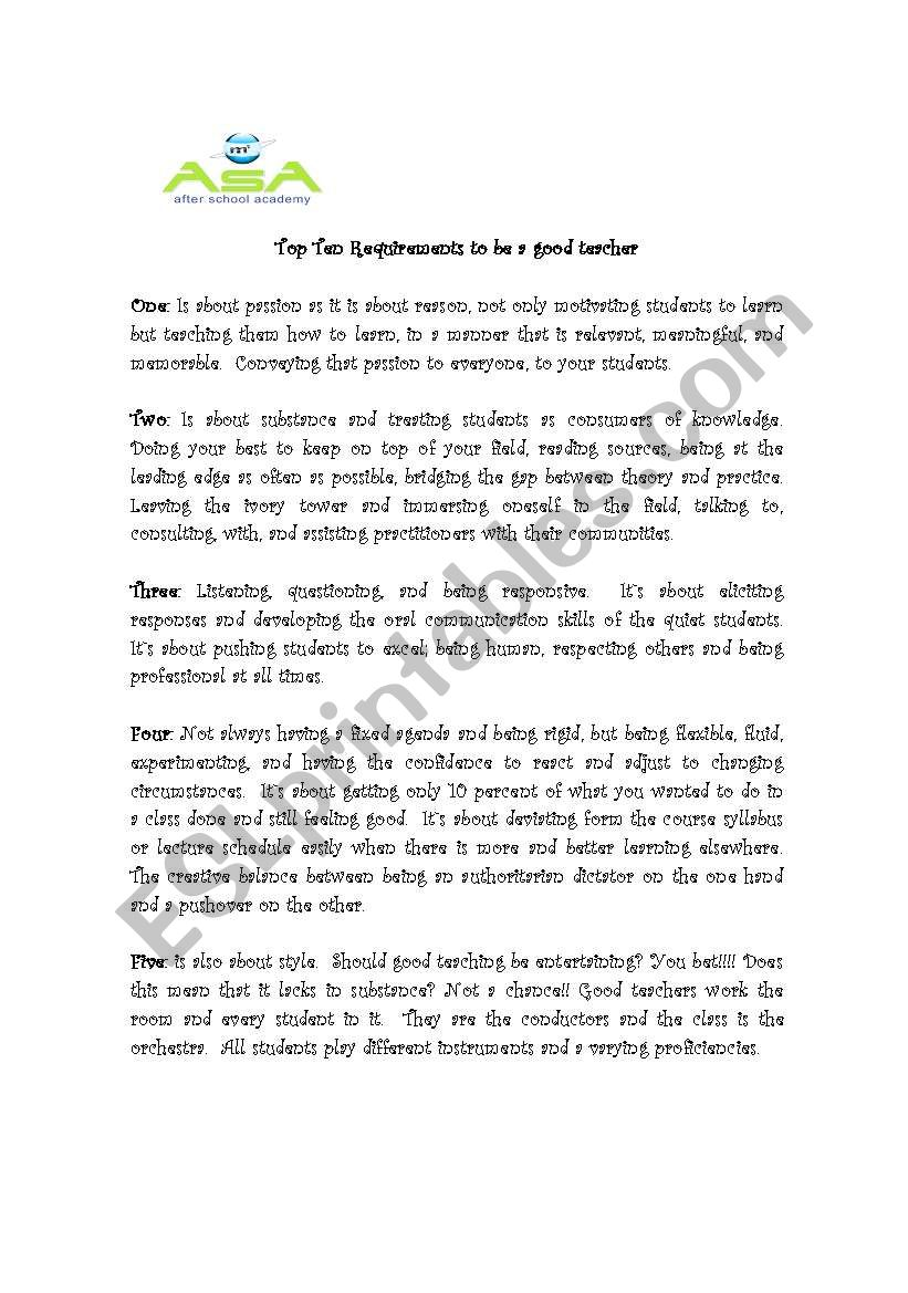 to be or not to be a good teacher esl worksheet by chibolita