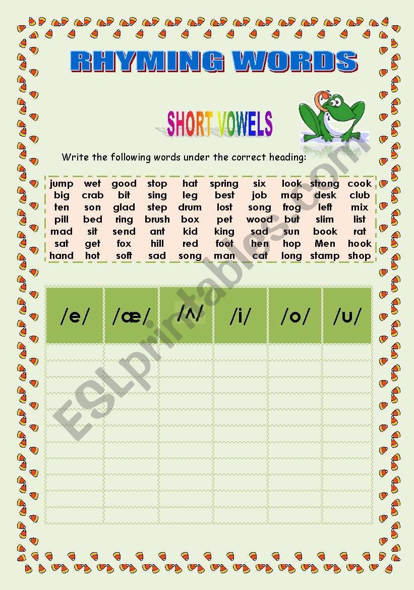 Phonetics: Rhyming words worksheet