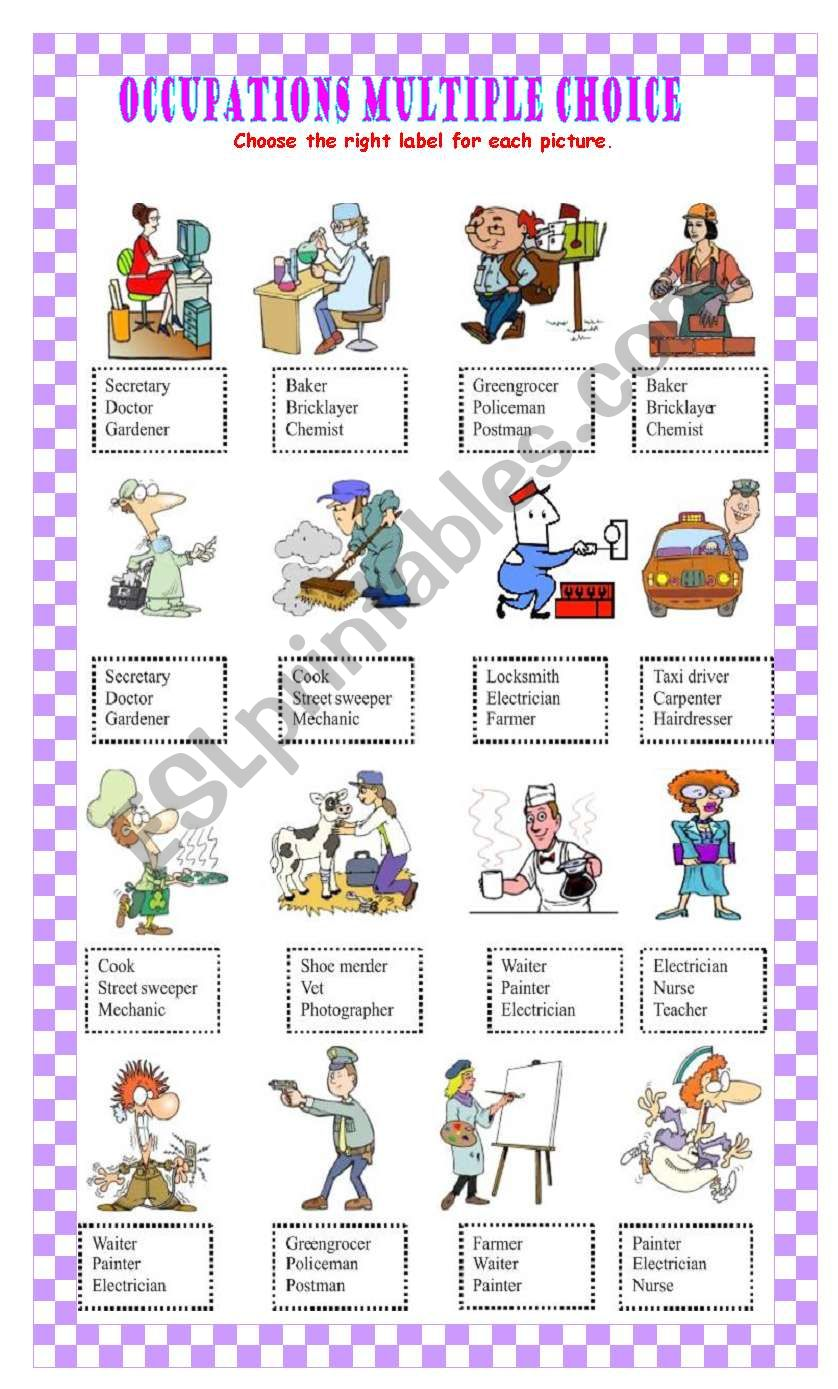 Occupations Multiple Choice Part two