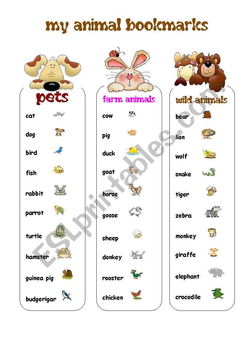 MY ANIMAL BOOKMARKS worksheet