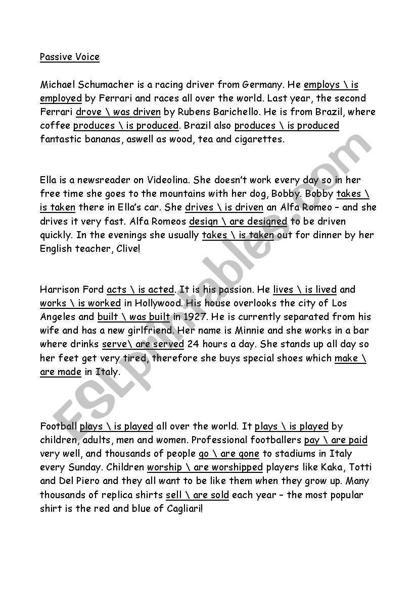 Passive Voice worksheet worksheet