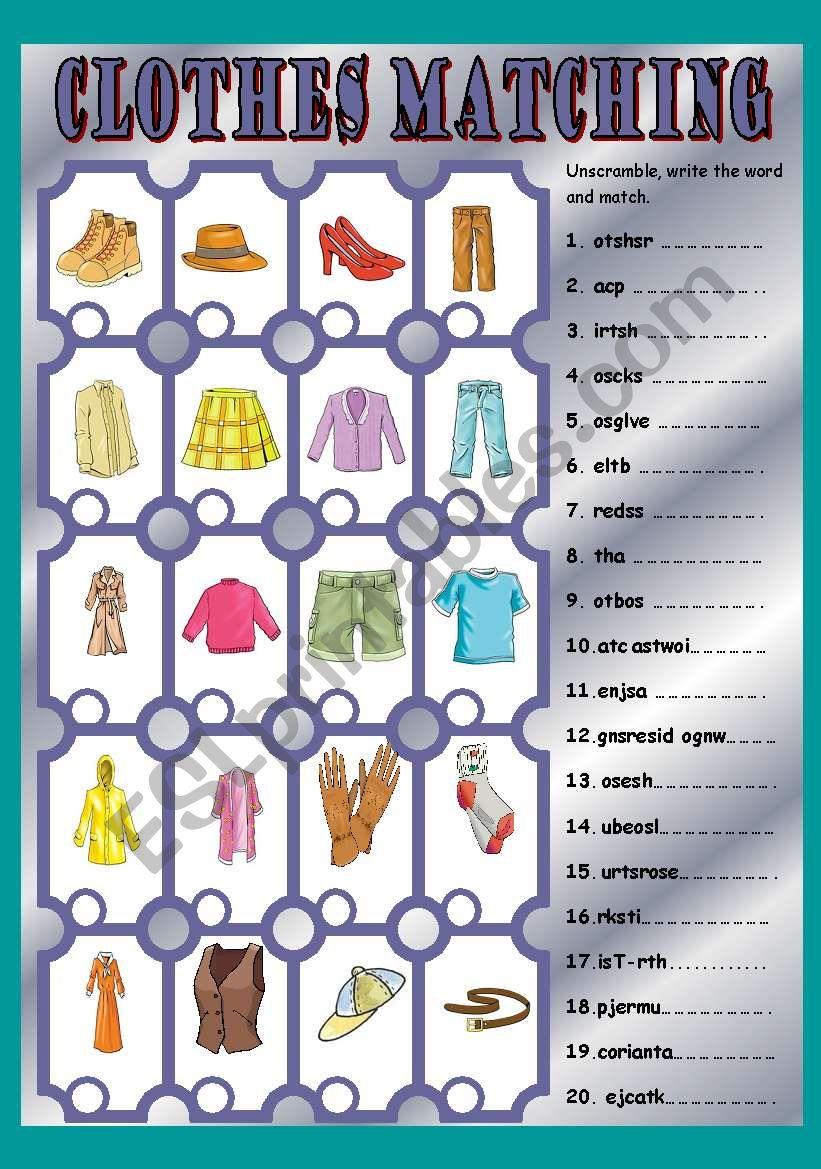 Clothes matching worksheet