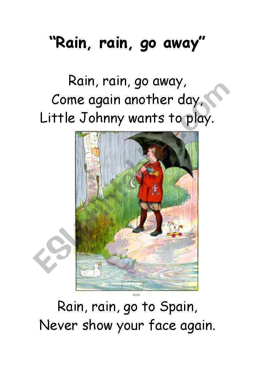 worksheet Rain Rain Go Away Worksheet english worksheets rain go away worksheet