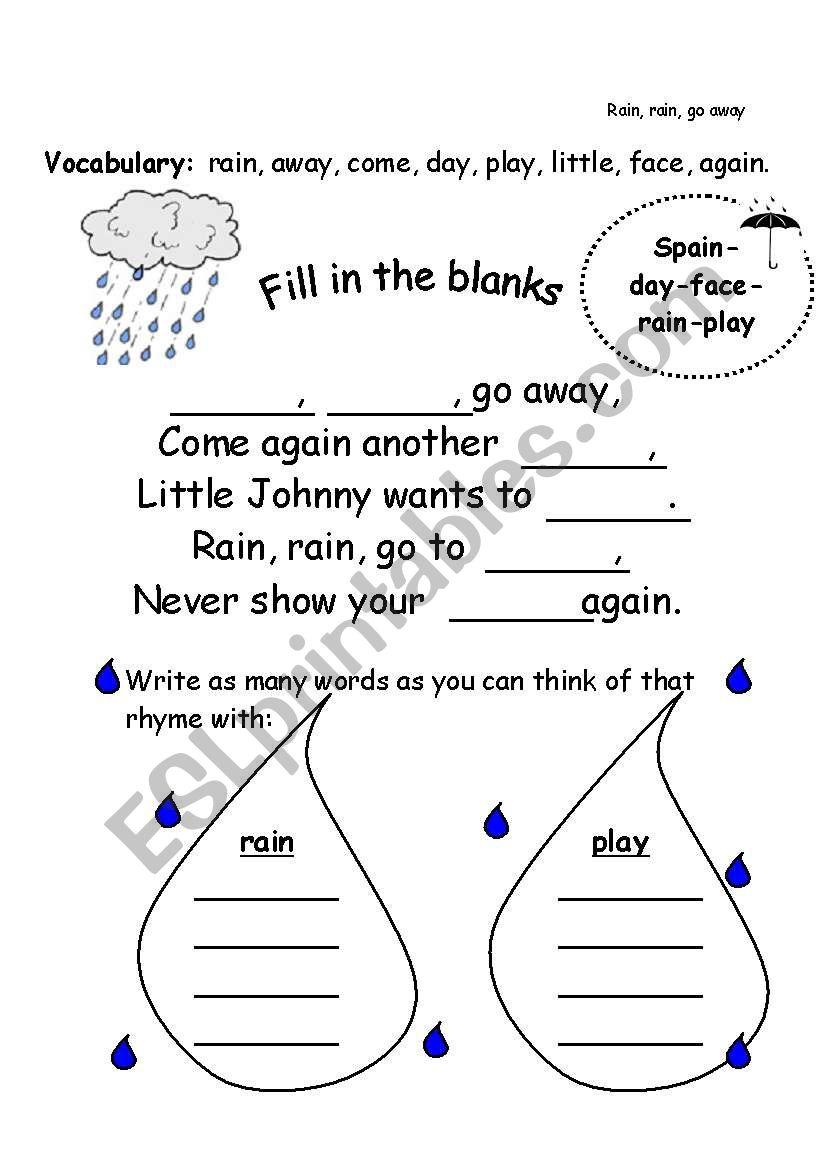 worksheet Rain Rain Go Away Worksheet english worksheets rain go away