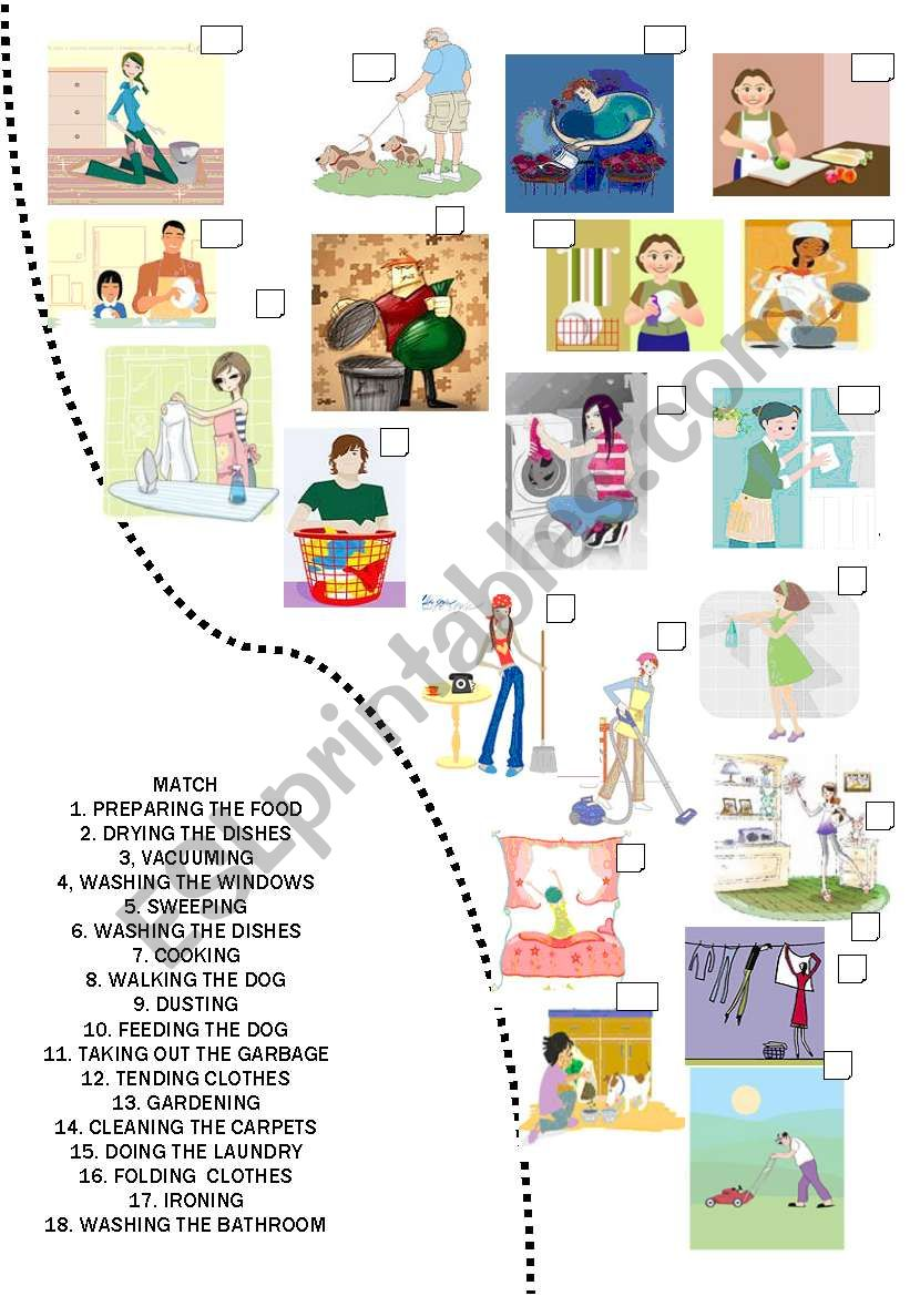 Match the chores worksheet