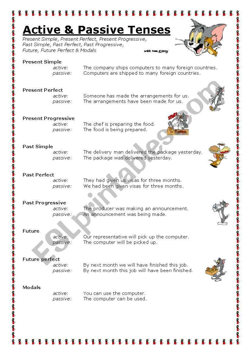 Active & Passive Tenses worksheet