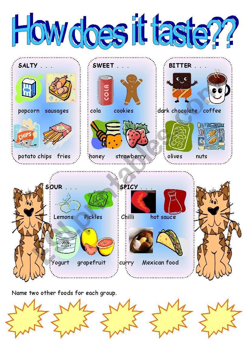 Different tastes pictionary worksheet