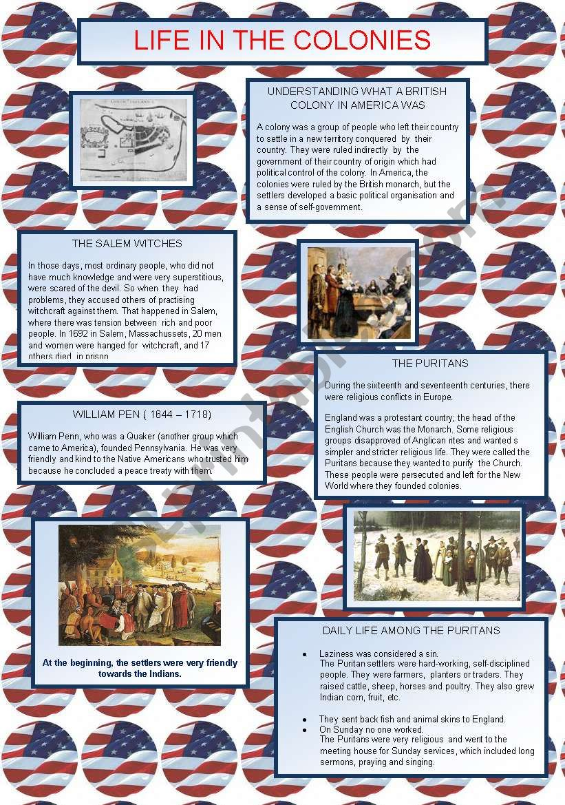Life in the Colonies worksheet