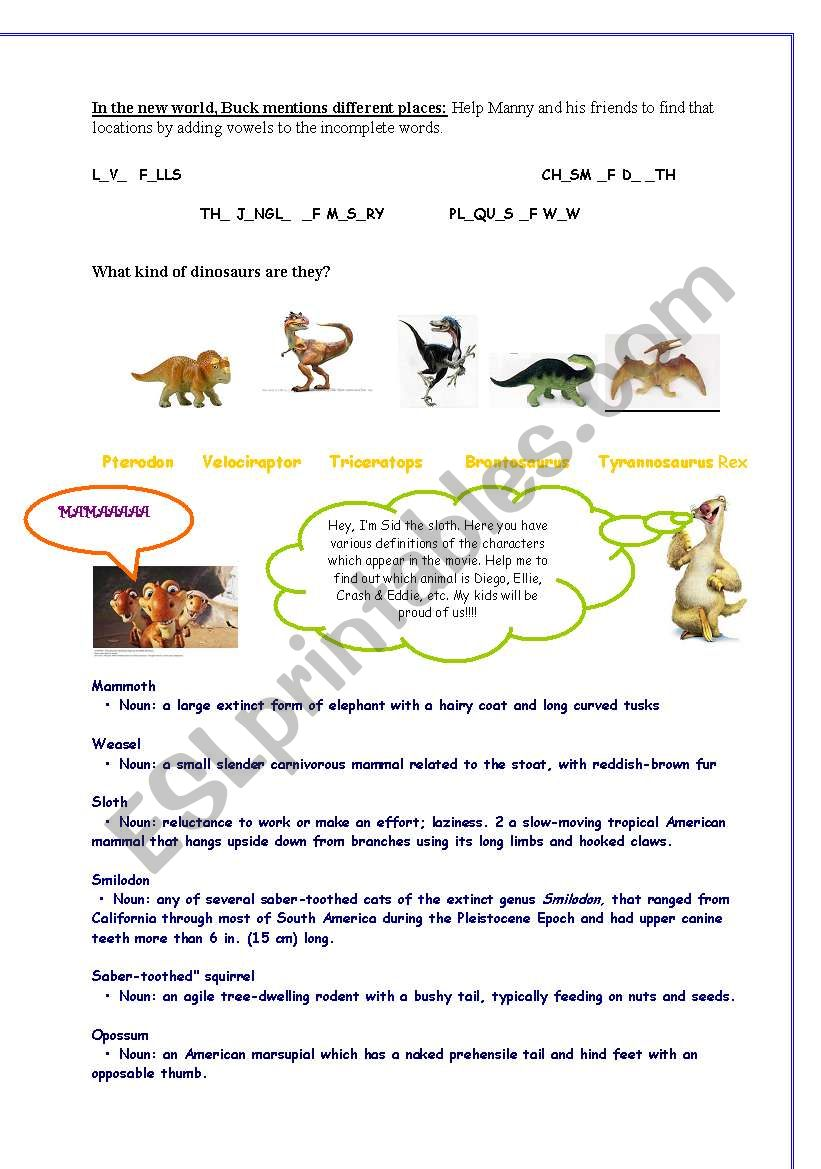 Ice Age 3 Worksheet 3 pages - ESL worksheet by Anto29
