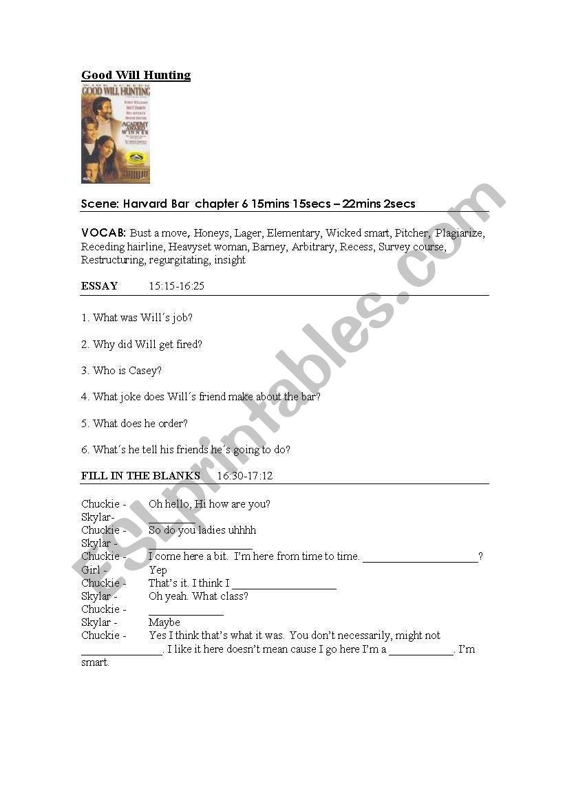 Good Will Hunting worksheet worksheet