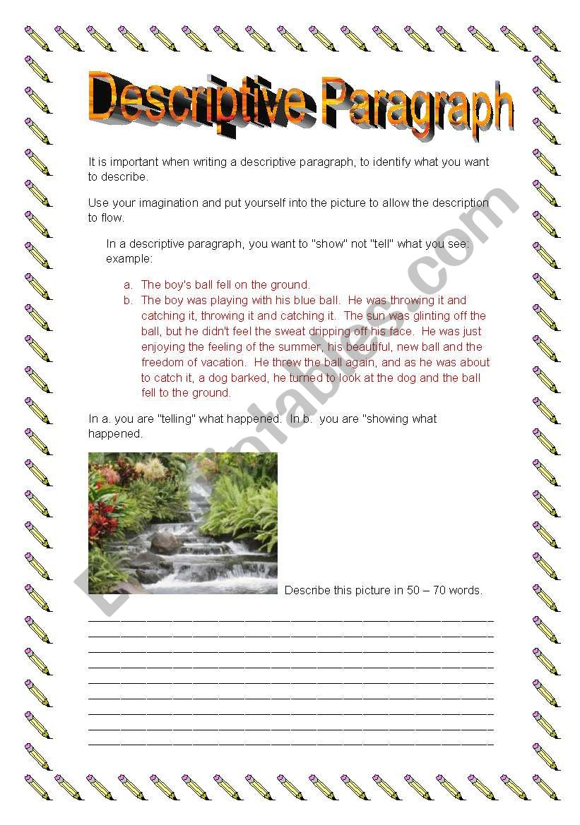 english worksheets  descriptive paragraph