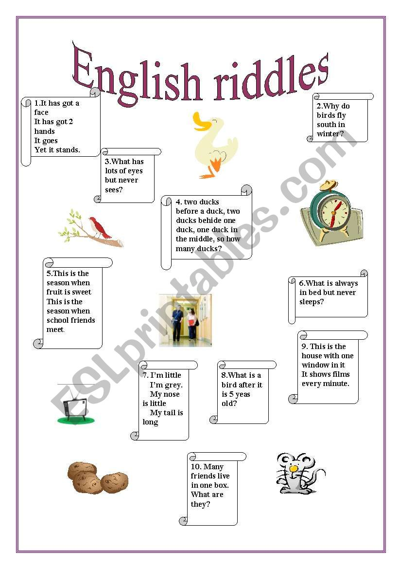 English Riddles Part on worksheets to be pdf