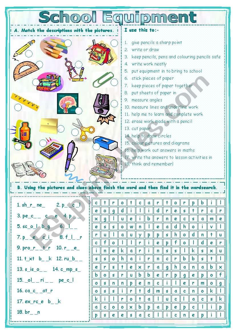 Match & Find School Equipment Worksheet