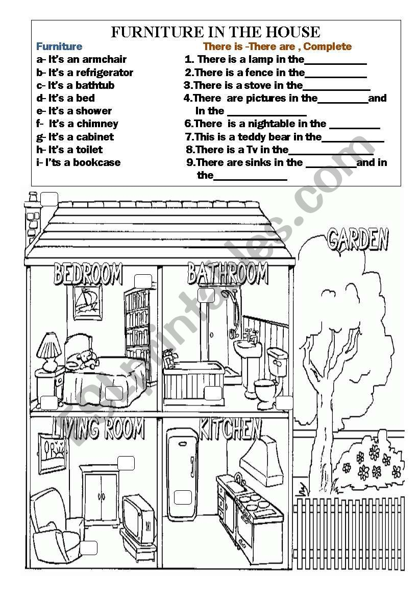 furniture and objects in the house esl worksheet by ilona. Black Bedroom Furniture Sets. Home Design Ideas