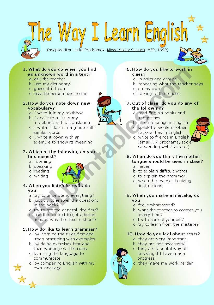 English Worksheets The Way I Learn English