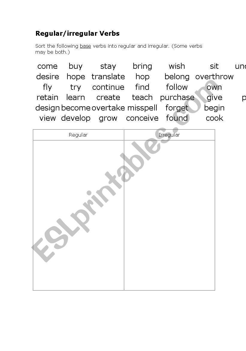 Regular/irregular verbs worksheet