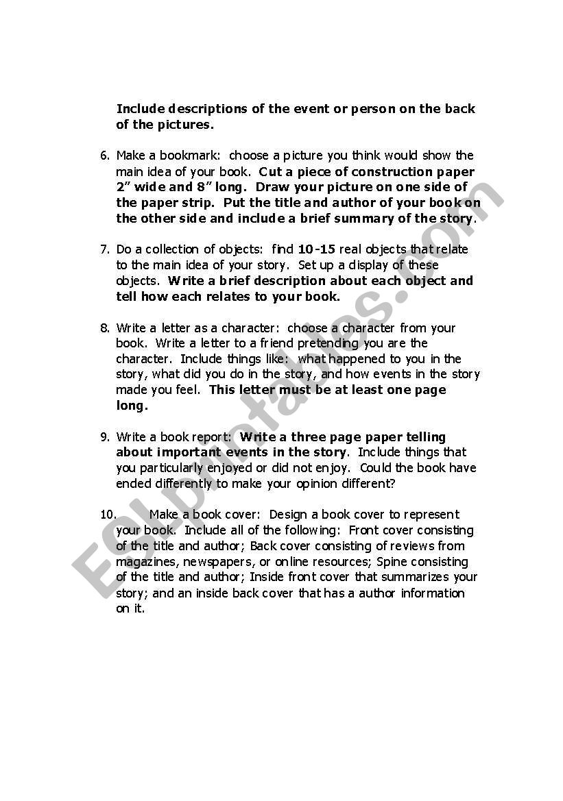 how to write a one page book report