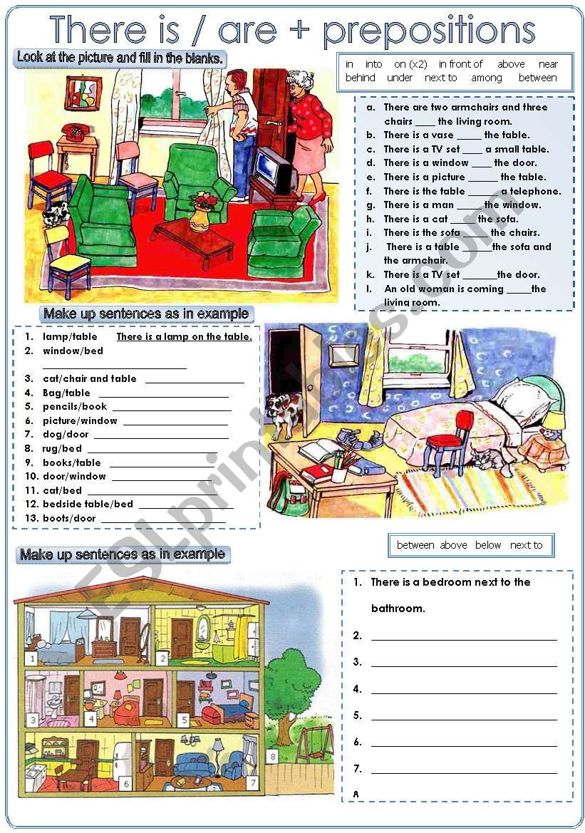 There is/are + prepositions worksheet