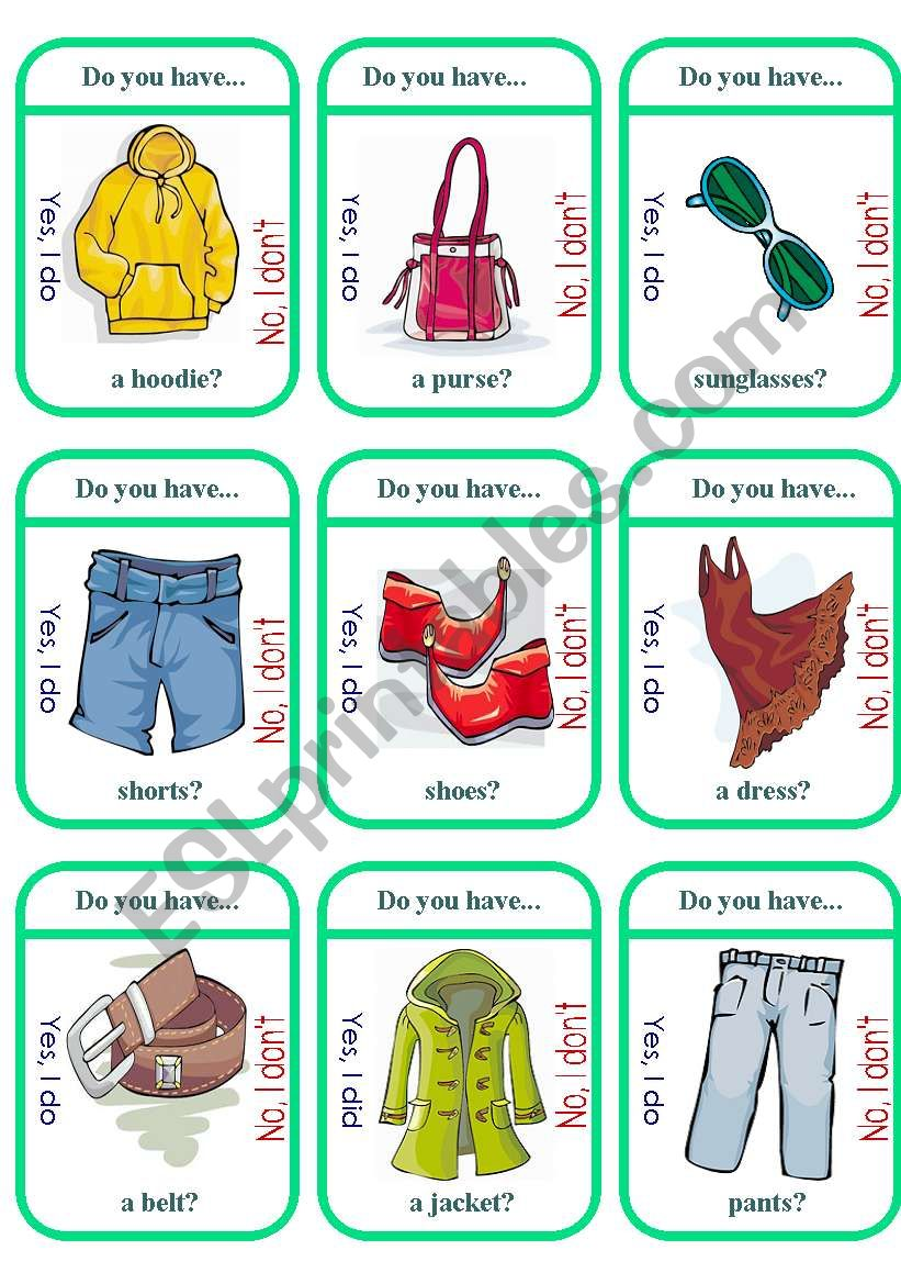 Clothes Game Cards (1 of 2) worksheet