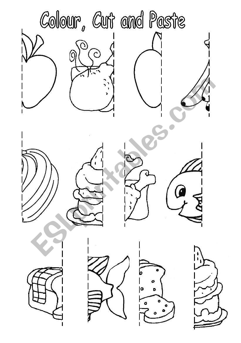 Colour Cut And Paste Food Esl Worksheet By Sophia13