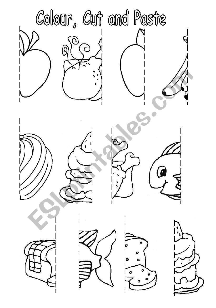 Colour Cut And Paste Food Esl Worksheet By Sophia13