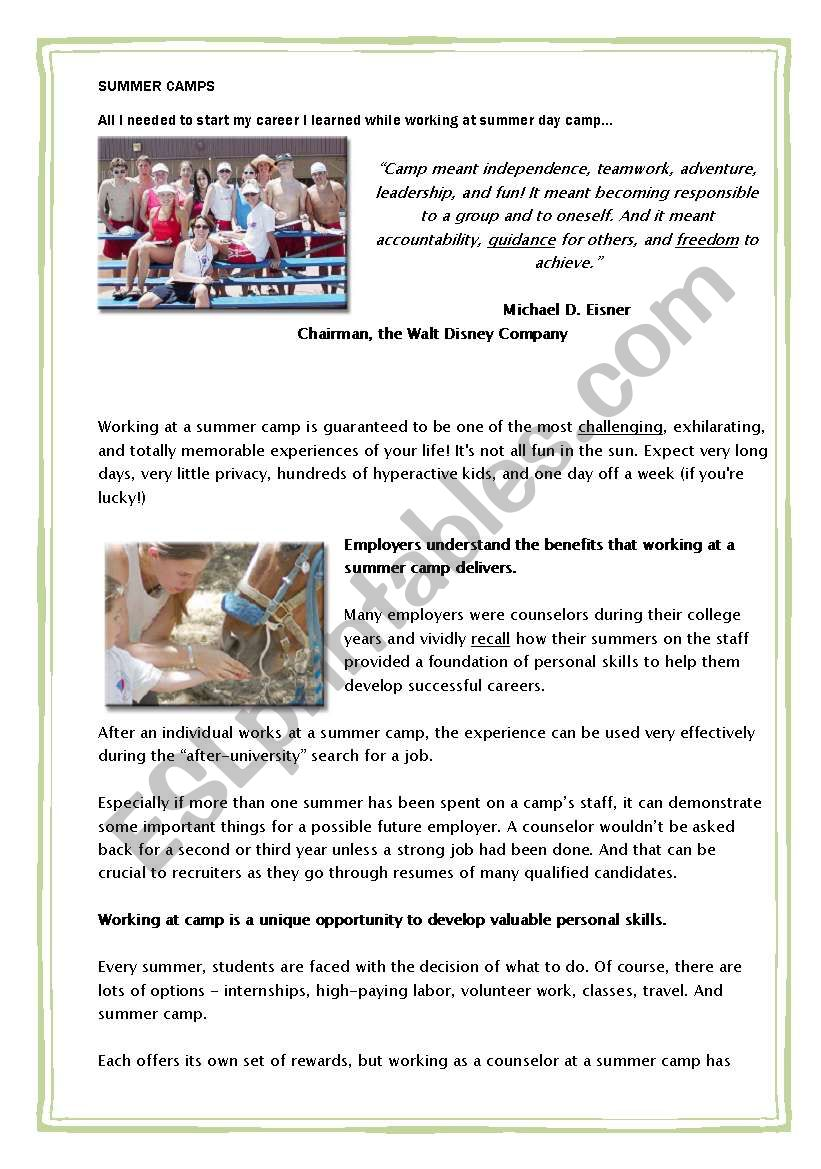photo about All Summer in a Day Worksheet referred to as Examining Being familiar with Physical exercises - Summer season Camps - ESL