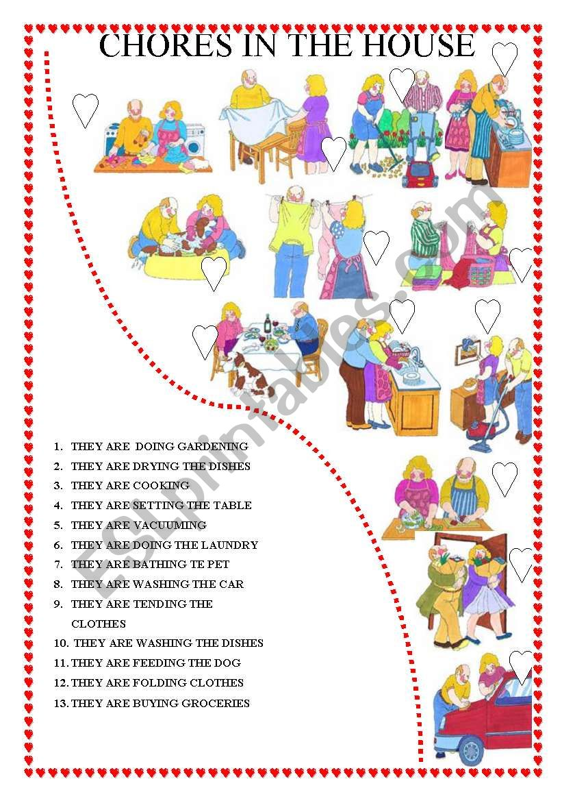 CHORES IN THE HOUSE worksheet