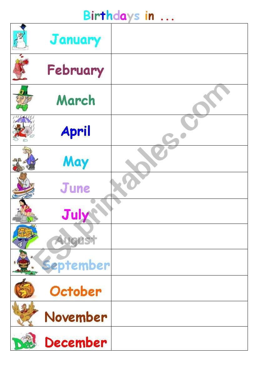 Birthday calendar: When is your birthday? / When were you born?