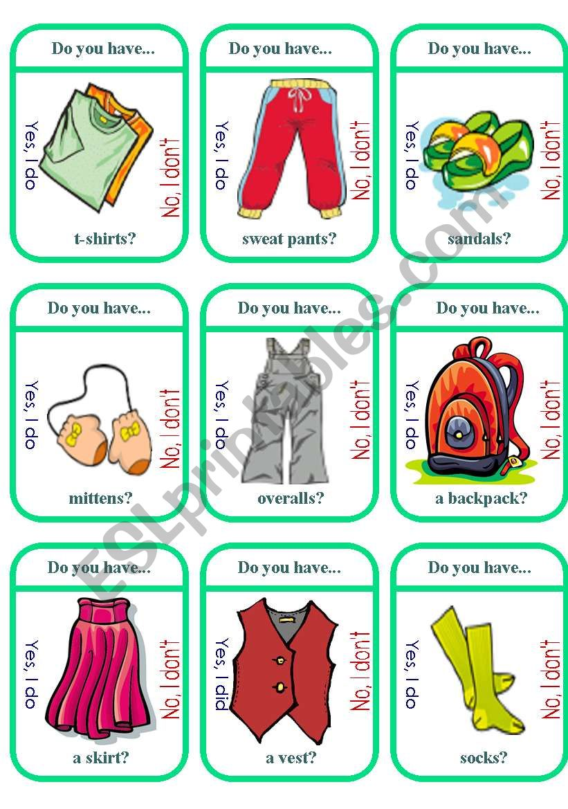 Clothes Game Cards (2 of 2) worksheet