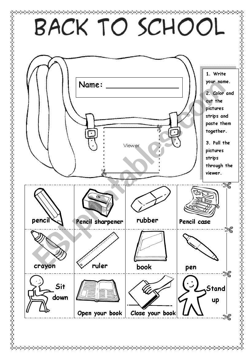 Back to school - ESL worksheet by Sue.