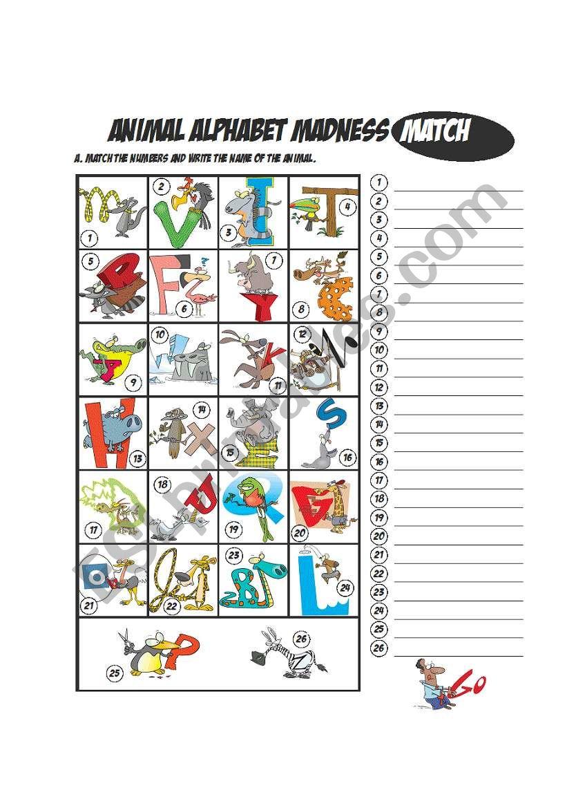Animal Alphabet Matching worksheet