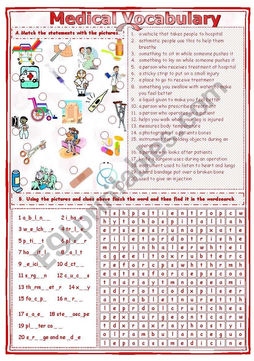 Match  & Find - Medical Vocabulary