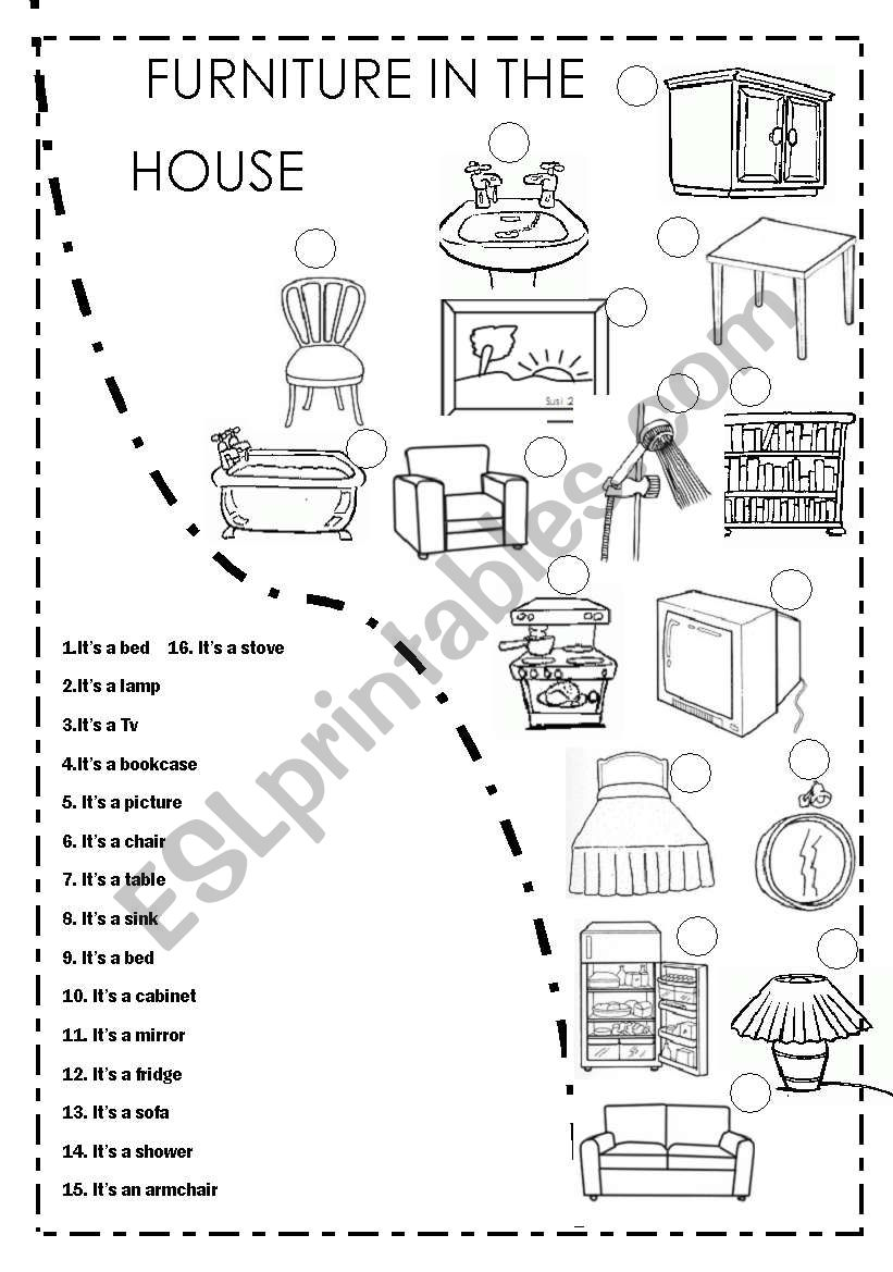 FURNITURE IN THE HOUSE worksheet