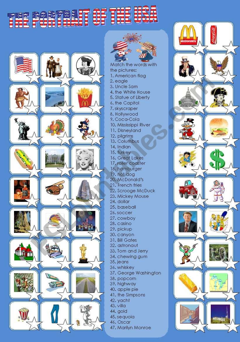 THE PORTRAIT OF THE USA (2) worksheet