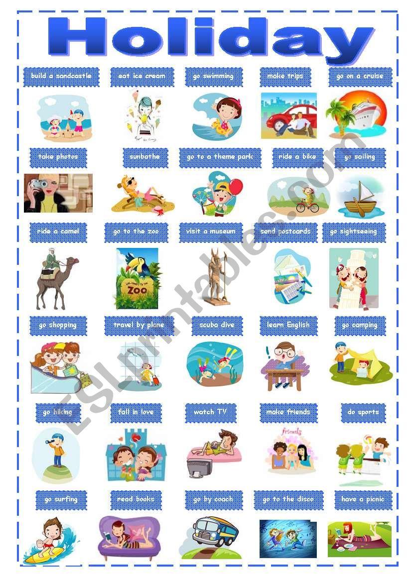 holiday activities pictionary esl worksheet by renata75. Black Bedroom Furniture Sets. Home Design Ideas