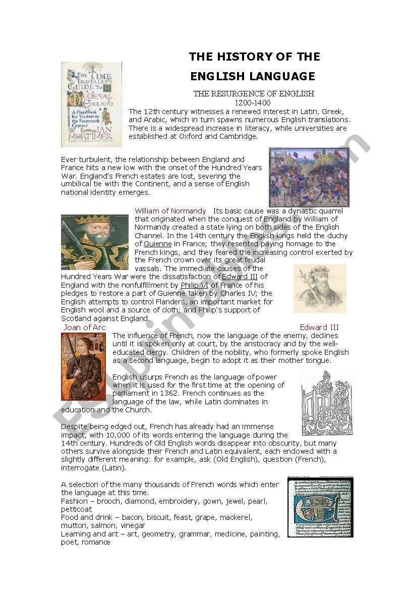 History of English Language worksheet