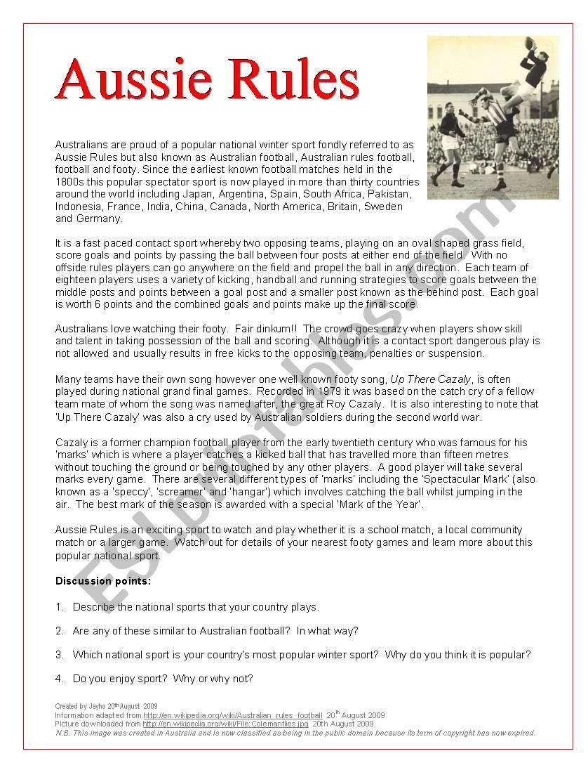 Australian Football worksheet