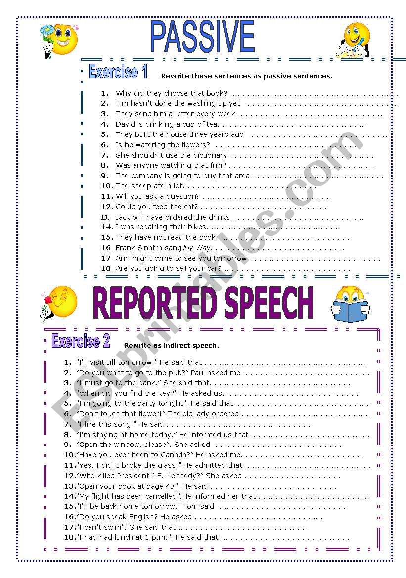 Passive and Reported Speech worksheet