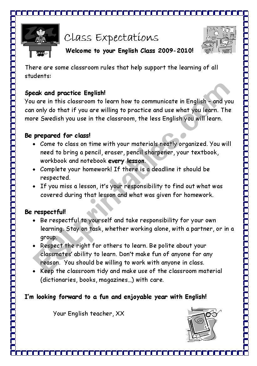 Class Expectations worksheet