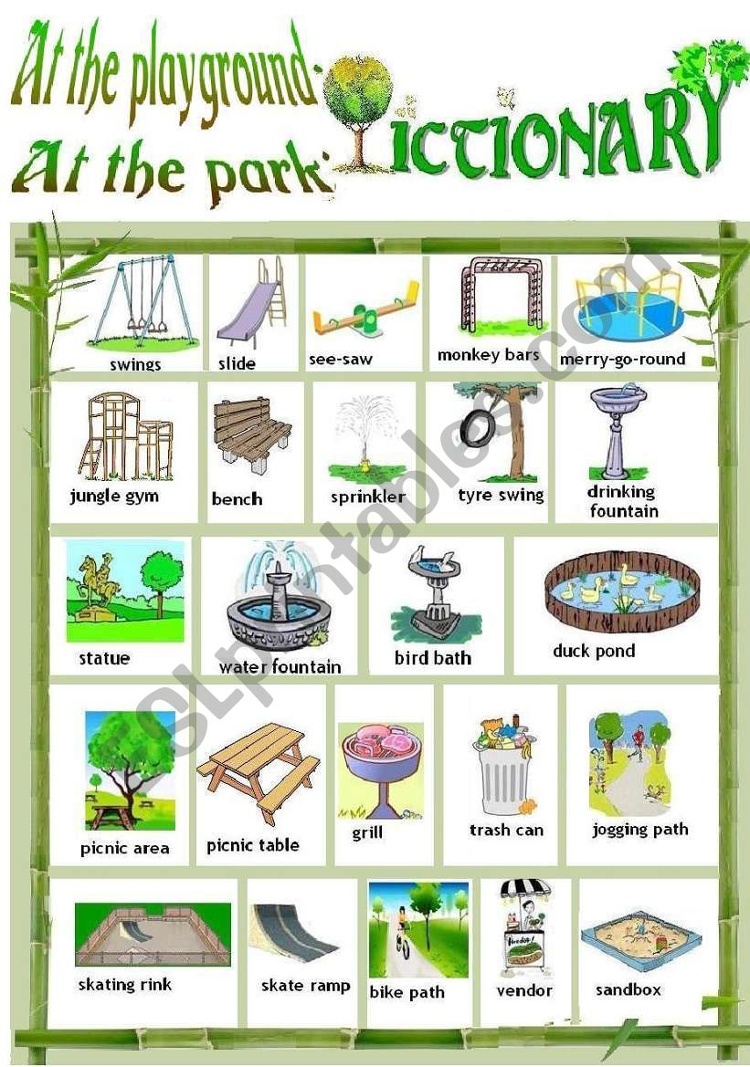 AT THE PLAYGROUND/PARK - PICTIONARY