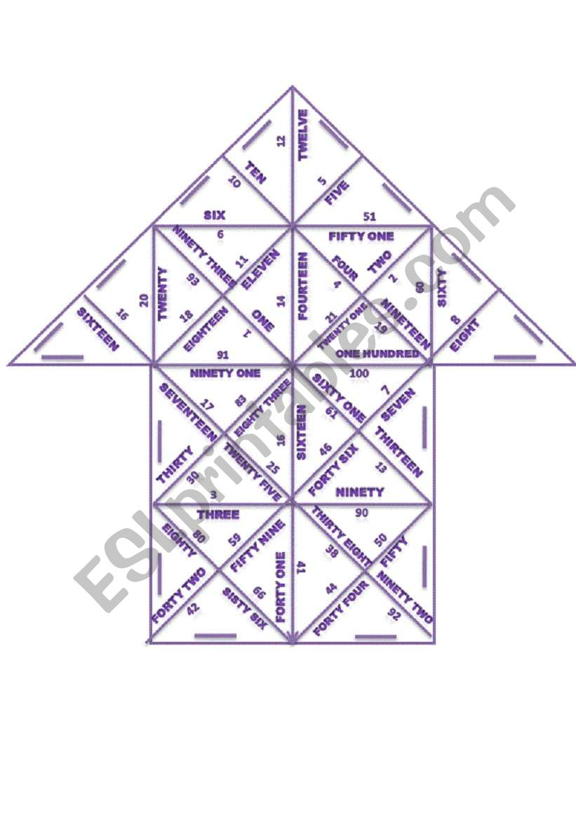Trimino: Numbers worksheet