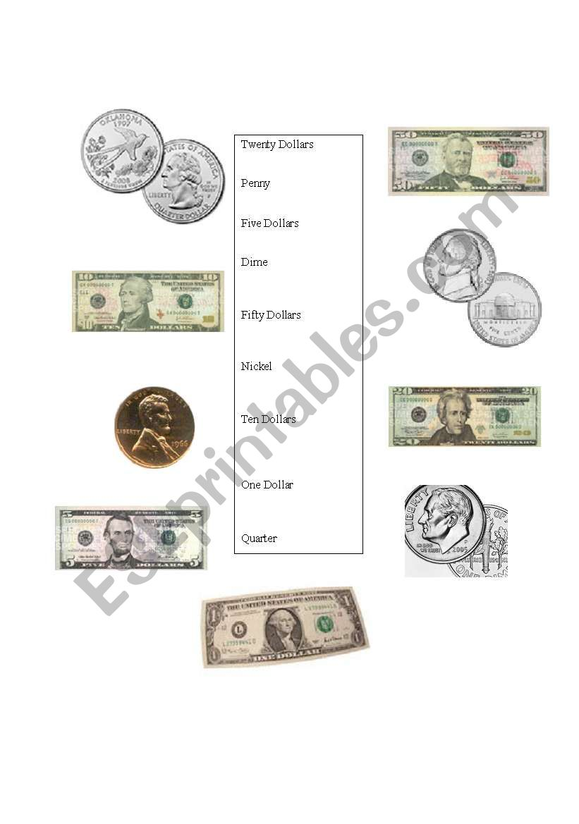 USA Currency & Coins worksheet
