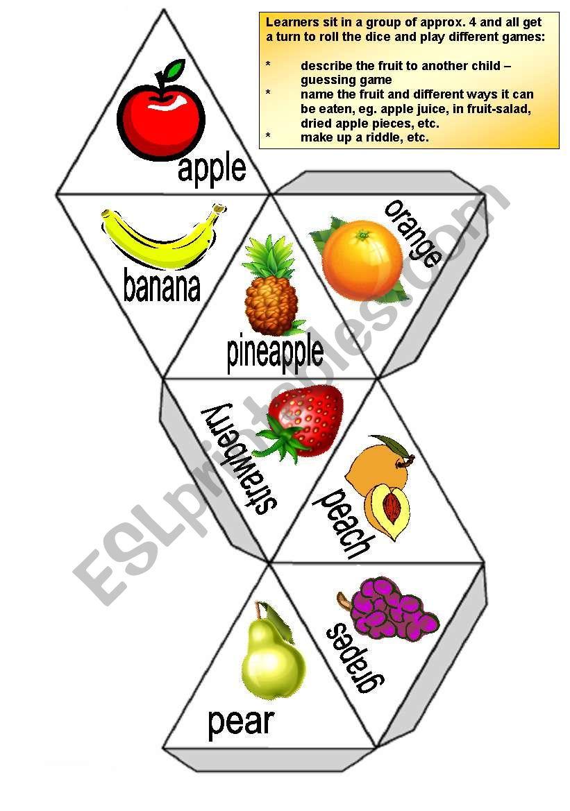 Fruit dice worksheet