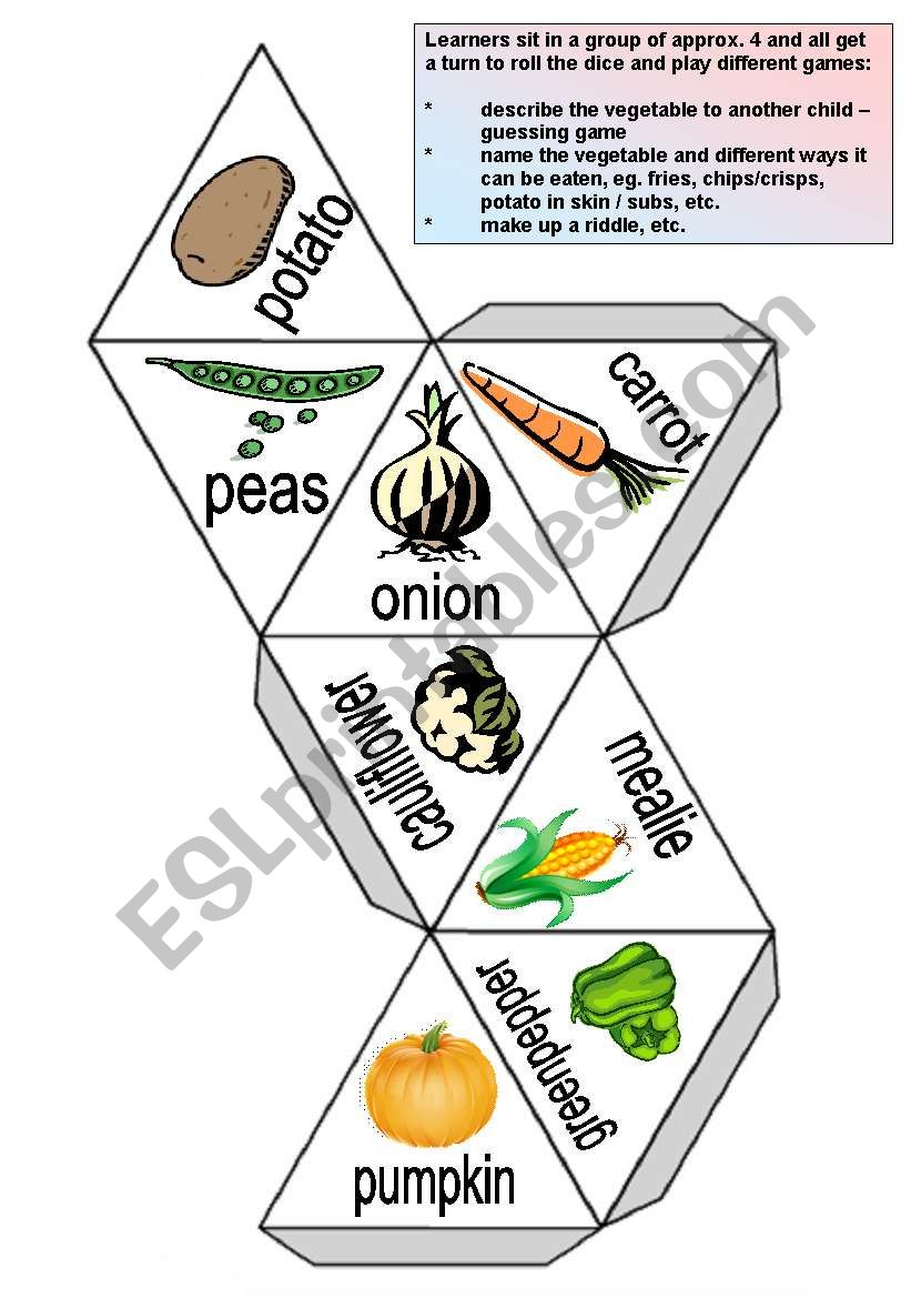 Vegetable dice worksheet