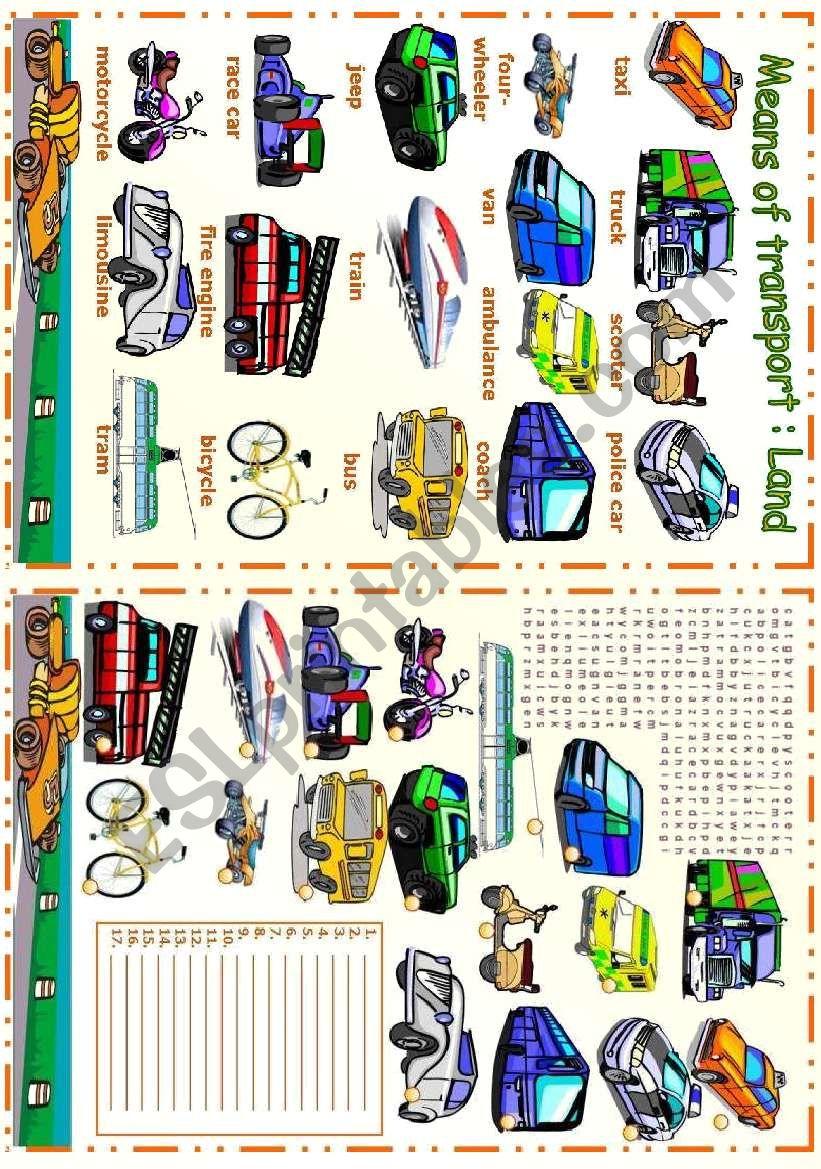 Means of transport - Land worksheet