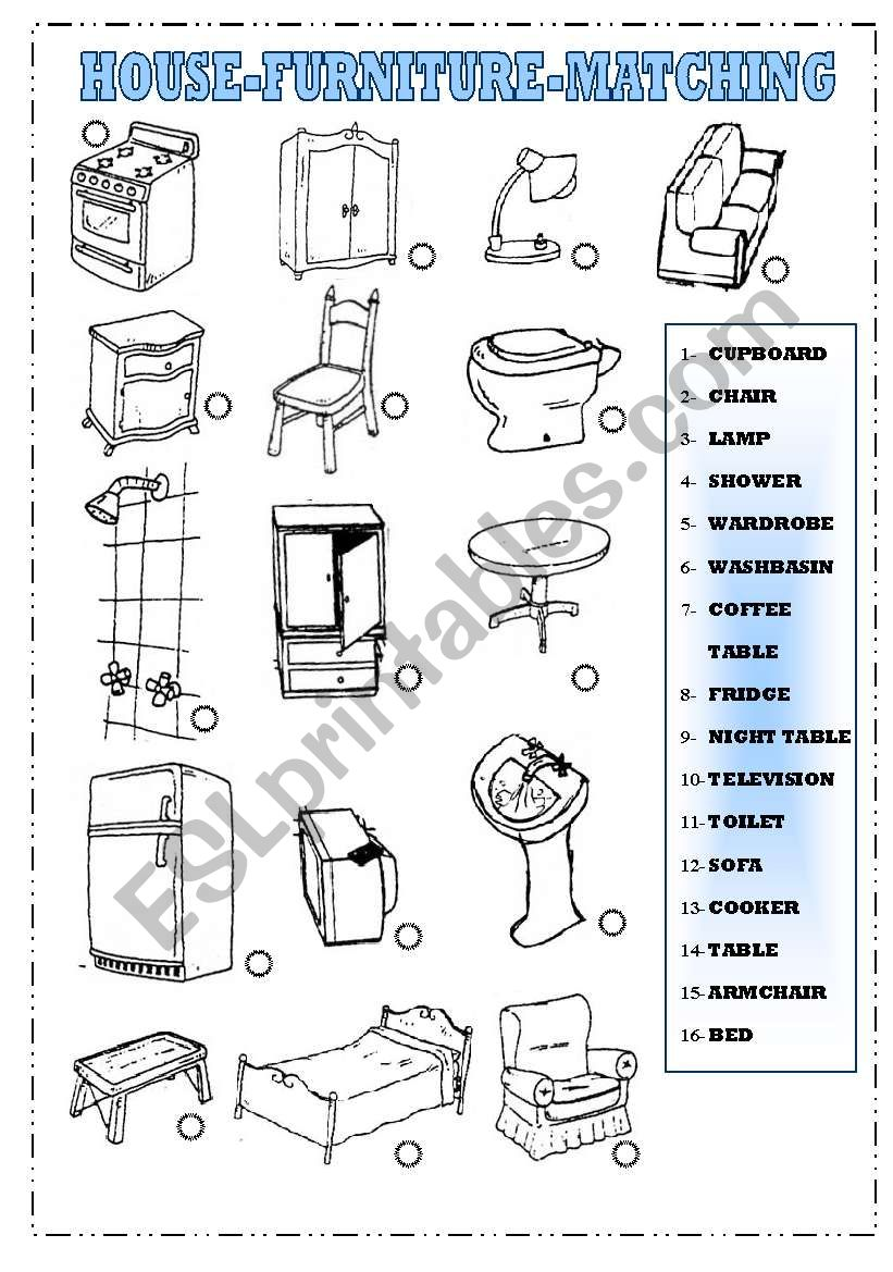 House and Furniture-Matching worksheet