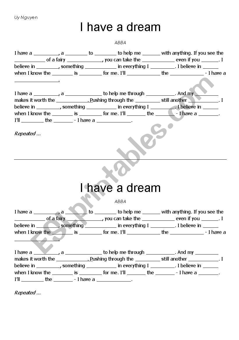 I Have A Dream Abba Esl Worksheet By Vinny4ever