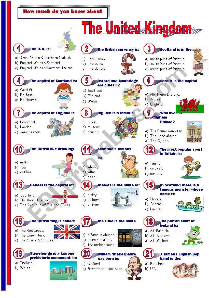 The United Kingdom - Quiz worksheet