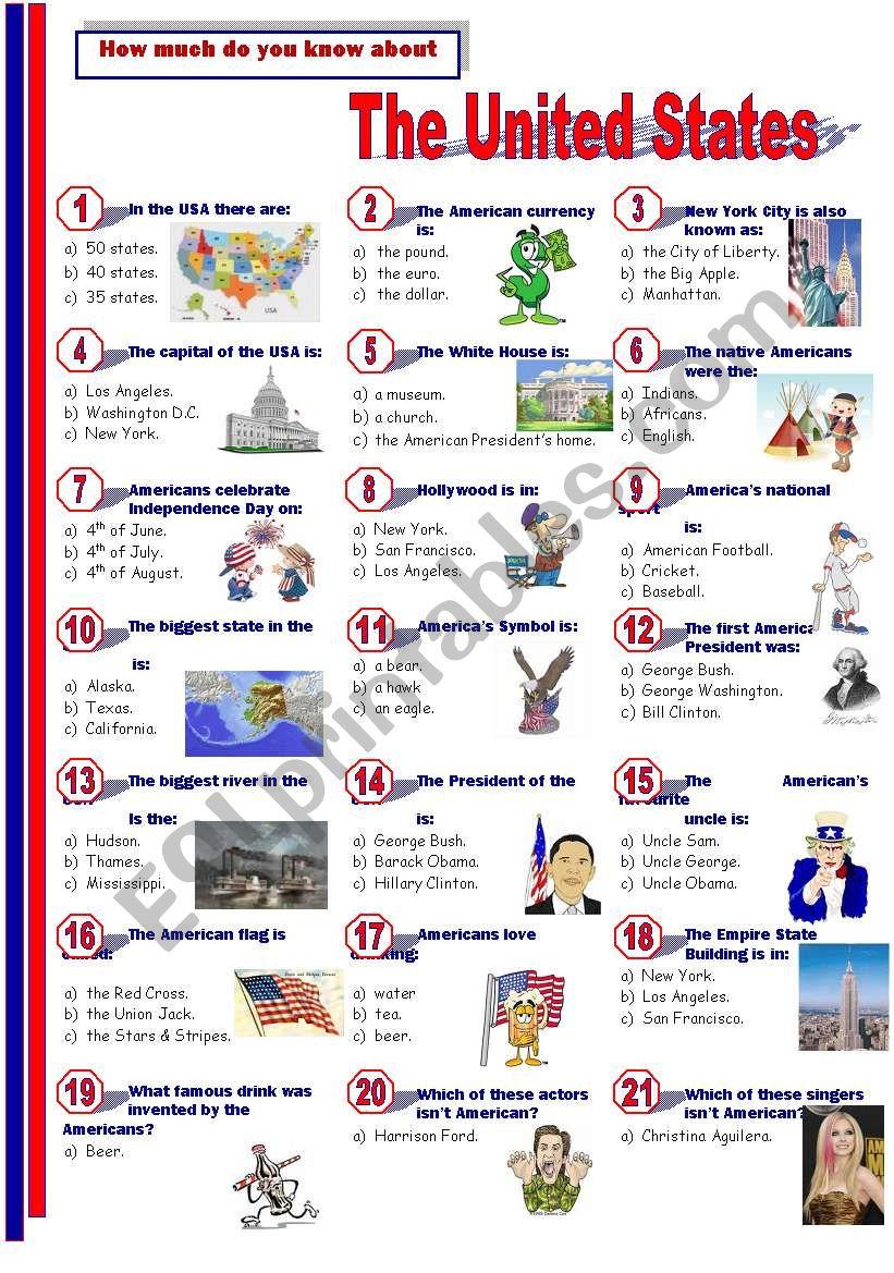 The United States - Quiz worksheet