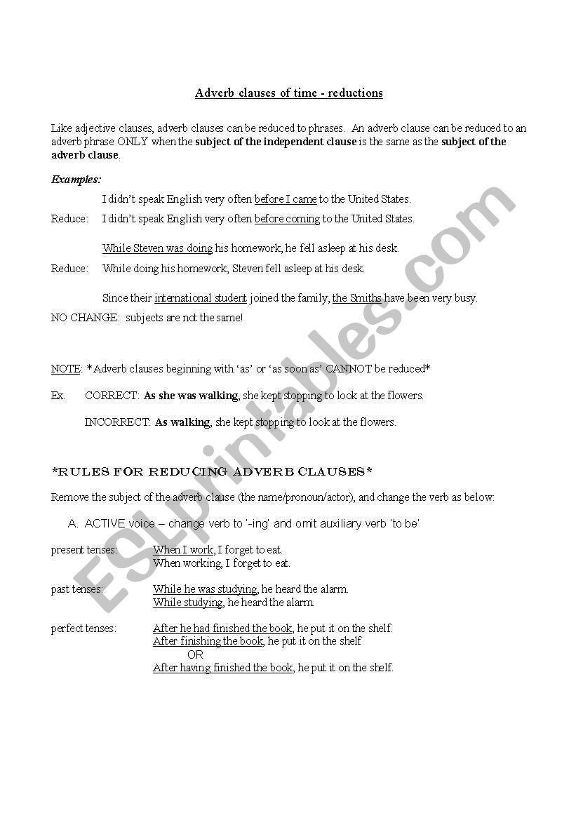 Reducing Adverb Clauses Of Time Esl Worksheet By Lanie247